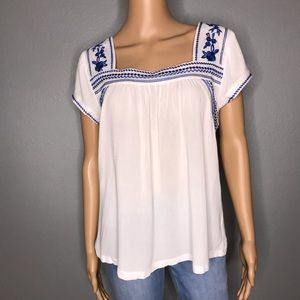 Little Town Embroidery Woven Top by Ellison